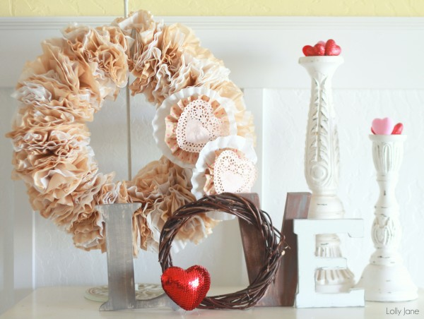 Valentine Coffee Filter Wreath