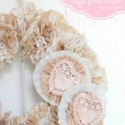 Valentine Coffee Filter Wreath
