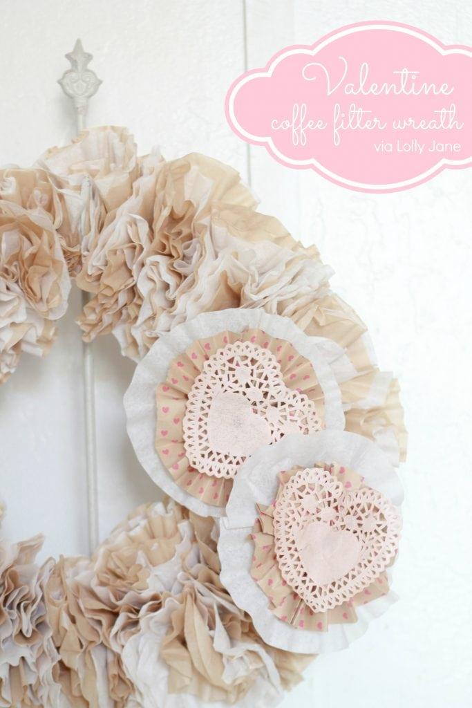 Valentine Coffee Filter Wreath via lollyjane.com #valentinesday #craft #wreath