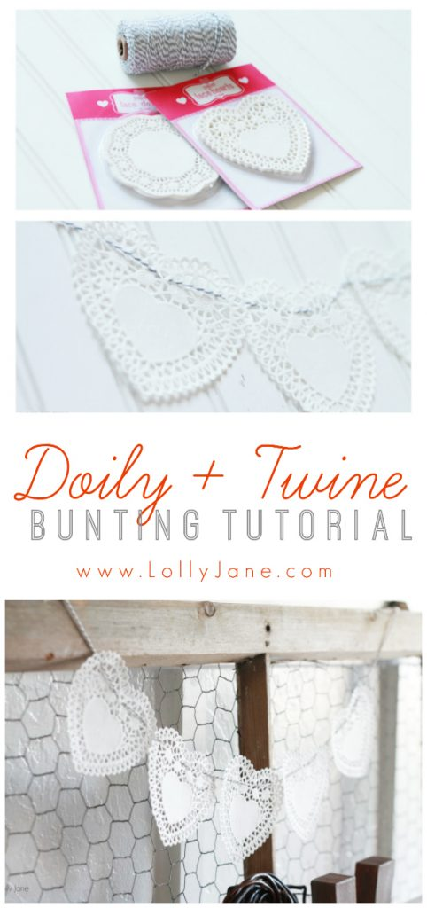 Easy doily and twine bunting tutorial. So easy to make, only 2 items needed!! (lollyjane.com)