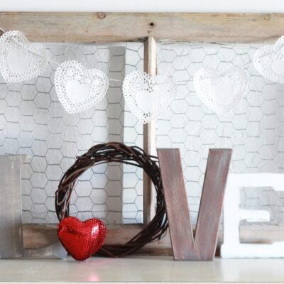 valentines day love letters mantel decor