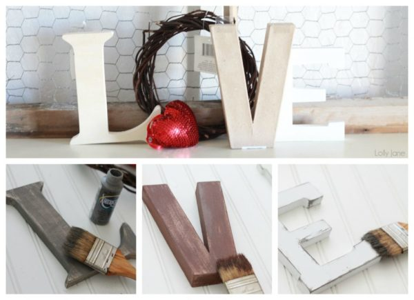 valentines day love letters mantel decor (3)