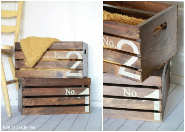 How to create vintage numbered crates | Lolly Jane