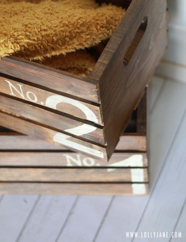 How to create vintage numbered crates by LollyJane.com