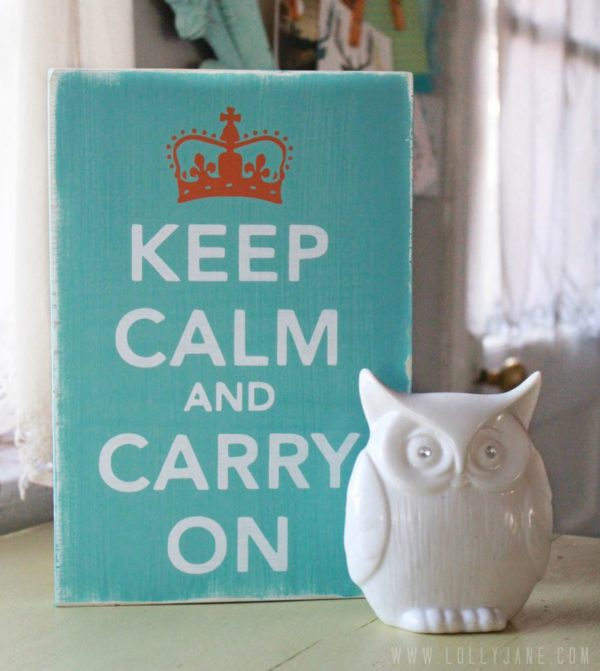 Word Whipped giveaway | Keep Calm and Carry On sign