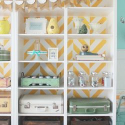 Herringbone stenciled bookcase, fill with vintage goods for storage #organization #craftroom