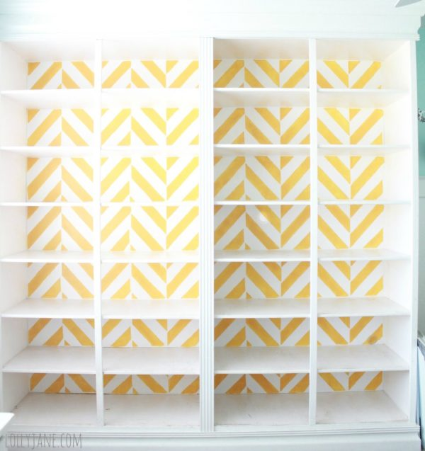 herringbone-bookcase-craft-room-stencil