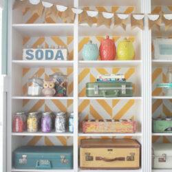 Herringbone bookcase | Craft room makeover