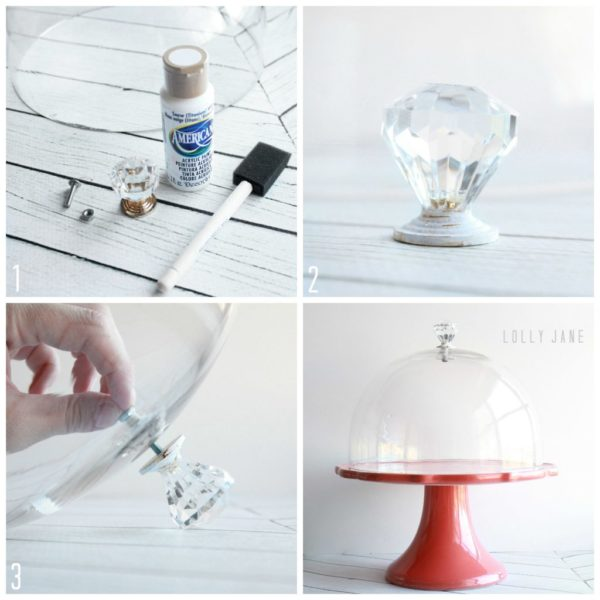 DIY cake stand dome knob handle by @LollyJaneBlog & DIY cake stand dome knob handle