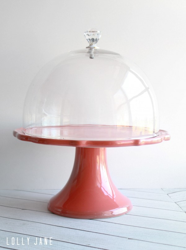 DIY cake stand dome knob handle by @LollyJaneBlog