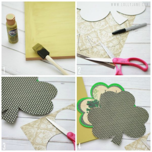 How to make your own St. Paddy's Day polka-dot shamrock wood art by @LollyJane