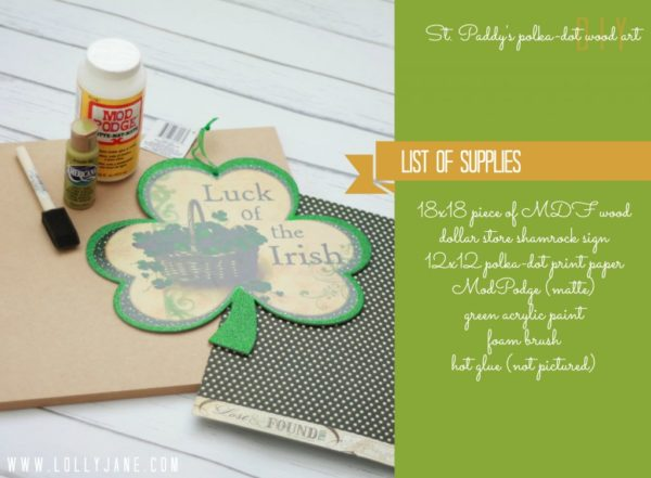 Supply list to make your own St. Paddy's Day polka-dot shamrock wood art by @LollyJane