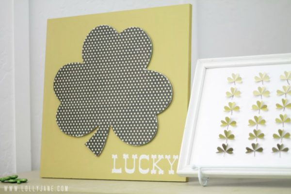Cute DIY St. Patrick's Day shamrock polkadot wood art by @LollyJane