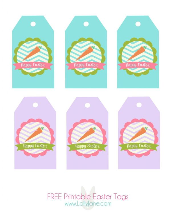 FREE printable Easter tags by LollyJane.com