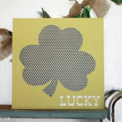 St. Paddy's Day polka dot shamrock wood art