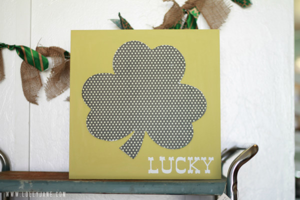 St. Paddy's Day polka dot wood art by LollyJane.com