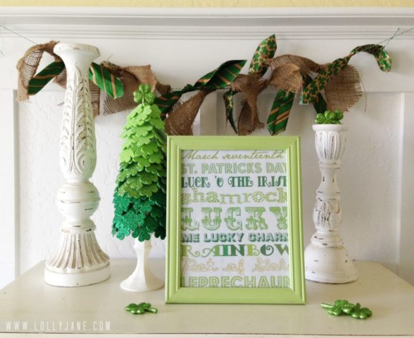 St. Patrick's day burlap bunting using upcycled ties.  Love this tute from lollyjane.com!