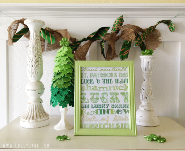 St. Patrick's Day Tie Burlap Bunting by LollyJane.com