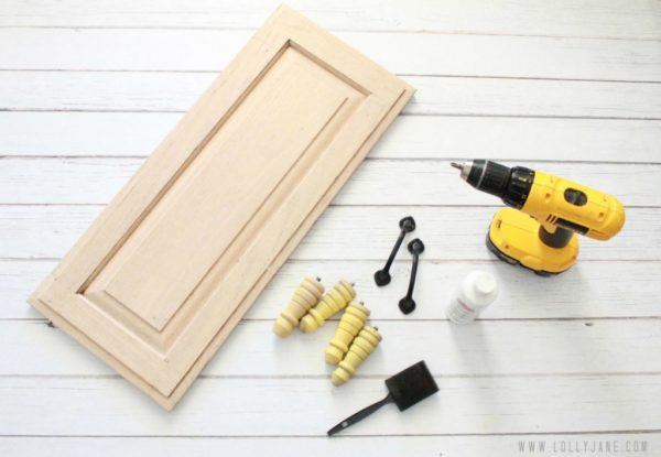 Supplies to make a cupboard serving tray by Lolly Jane