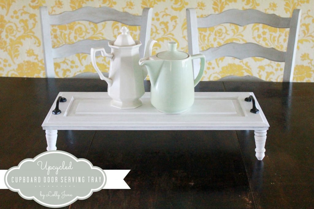 Upcycled cupboard door serving tray by LollyJane.com #upcycle #cupboarddoor