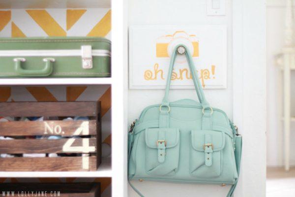 Oh Snap! camera bag holder #organization #craftroom #lollyjane
