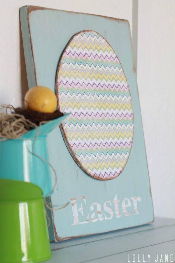 Chevron foam egg Easter sign #easterdecor #tutorial