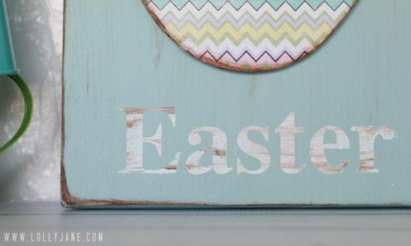 distress foam egg easter sign #easterdecor #tutorial