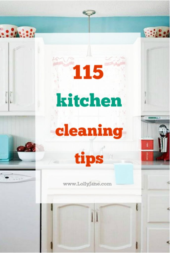 Over 115 kitchen cleaning tips to keep your kitchen organized, germ free and great ideas for using natural products for a clean kitchen.