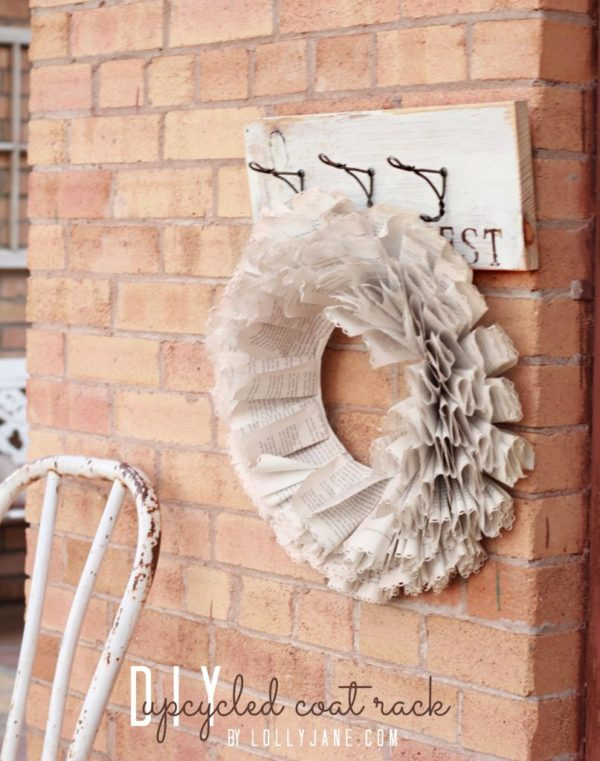 DIY Upcycled Coat Rack via lollyjane.com