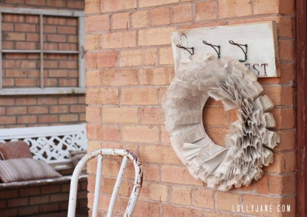 DIY vintage upcycled coat rack with wire hooks via lollyjane.com