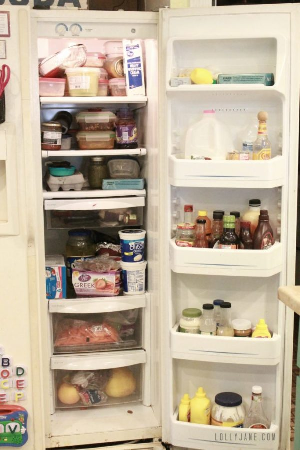 This is a gross fridge...check out the beautifully organized after! #organization #kitchencleaningtips