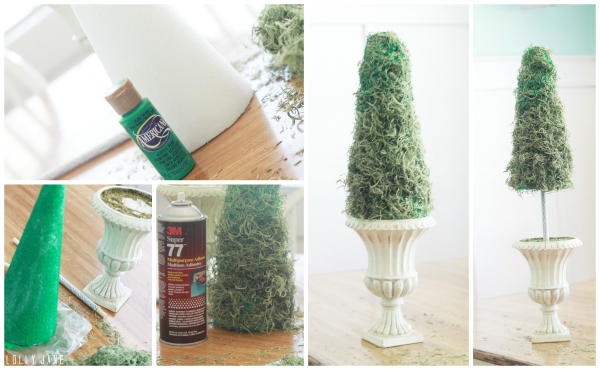 Easy Diy Moss Topiary Using Fake Moss And A Styrofoam Cone