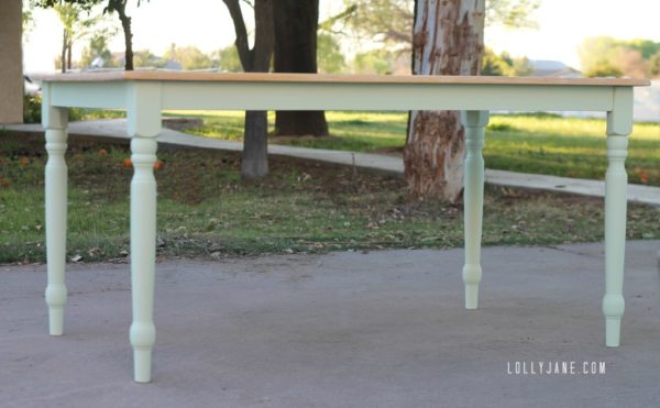 Mint farm house table using homemade chalkpaint #mintfarmhousetable #chalkpaint