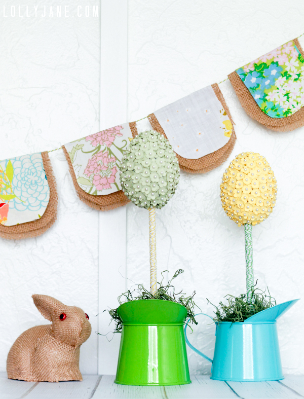 Bakers twine wrapped egg topiaries by www.lollyjane.com #spring #easter #homedecor