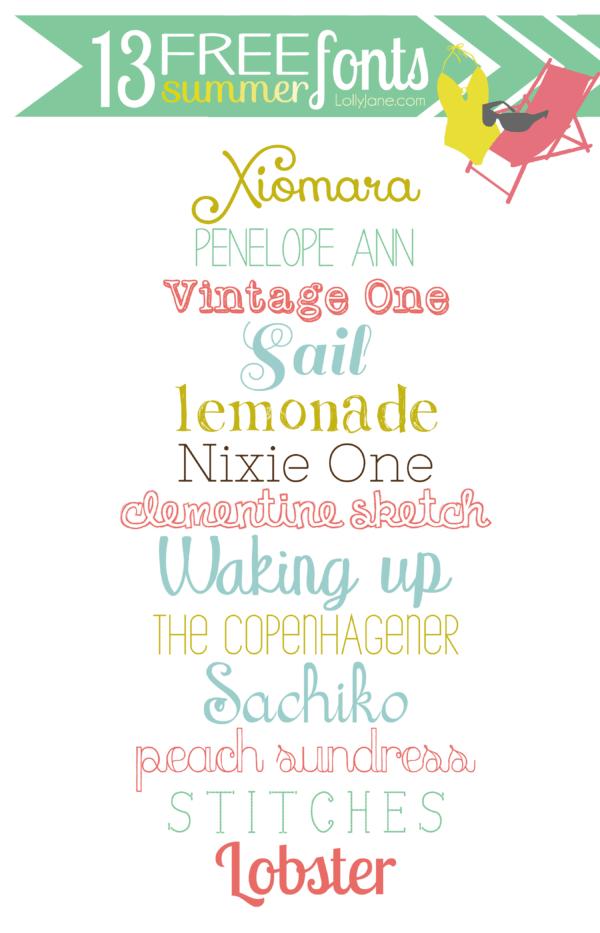 13 FREE summer fonts #freefonts