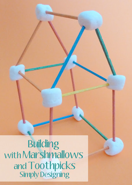 Building with marshmallows + toothpicks #summerboredombuster