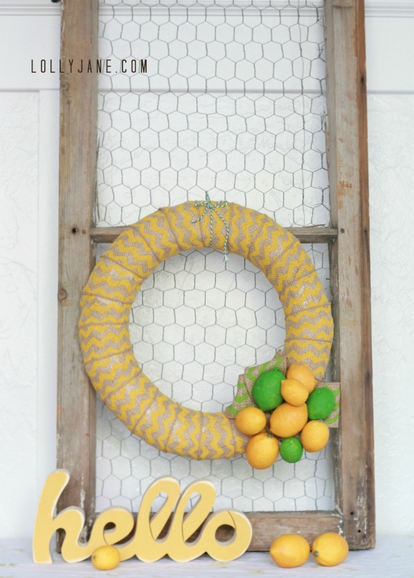 Cute chevron citrus wreath by LollyJane.com