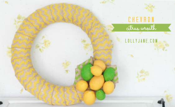 Cute chevron citrus wreath- easy tutorial via LollyJane.com