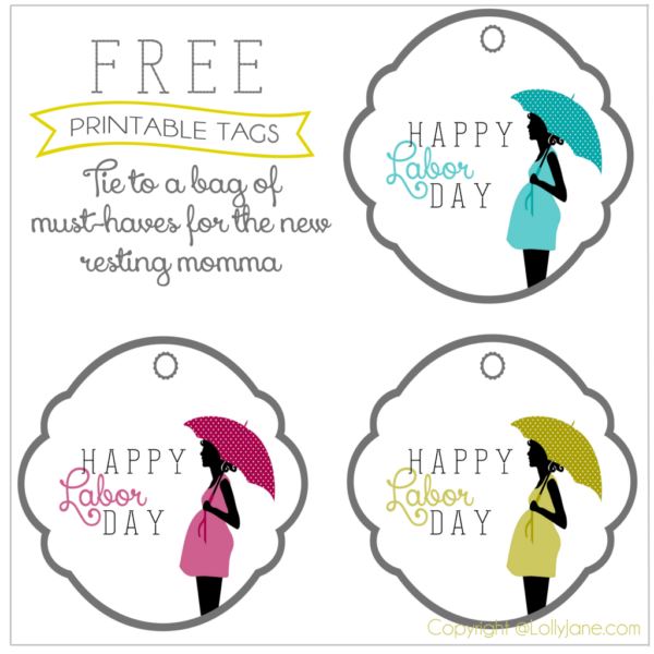 FREE printable gift tags for a new mom