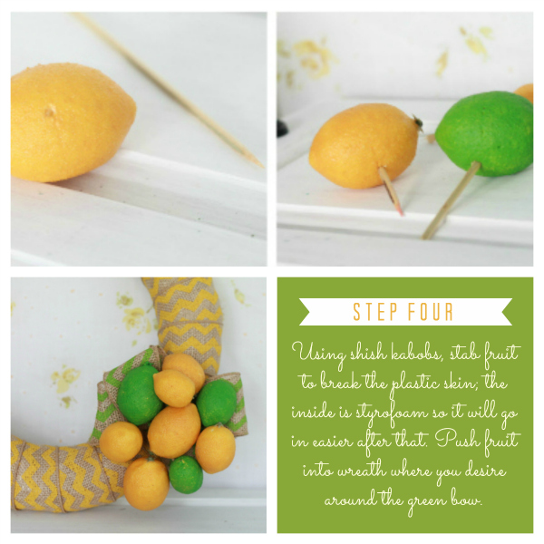 DIY chevron citrus wreath- see the full tutorial at lollyjane.com