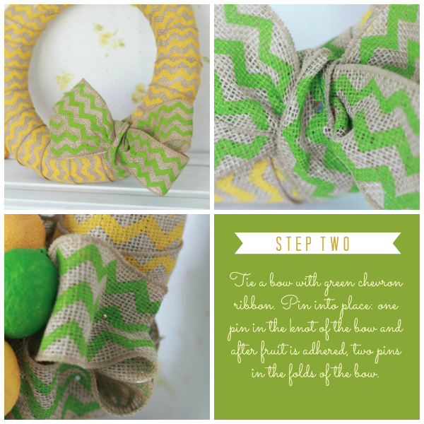 DIY chevron citrus wreath- full tutorial at lollyjane.com
