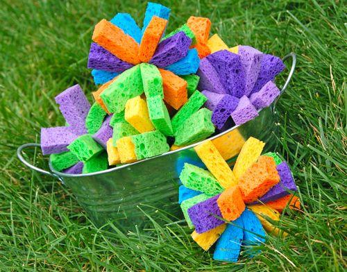 Sponge bombs! Just tie rubber bands around sponges #summerboredombuster