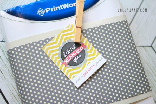 Tie free printable to a ream of paper for the perfect teacher appreciation gift via LollyJane.com