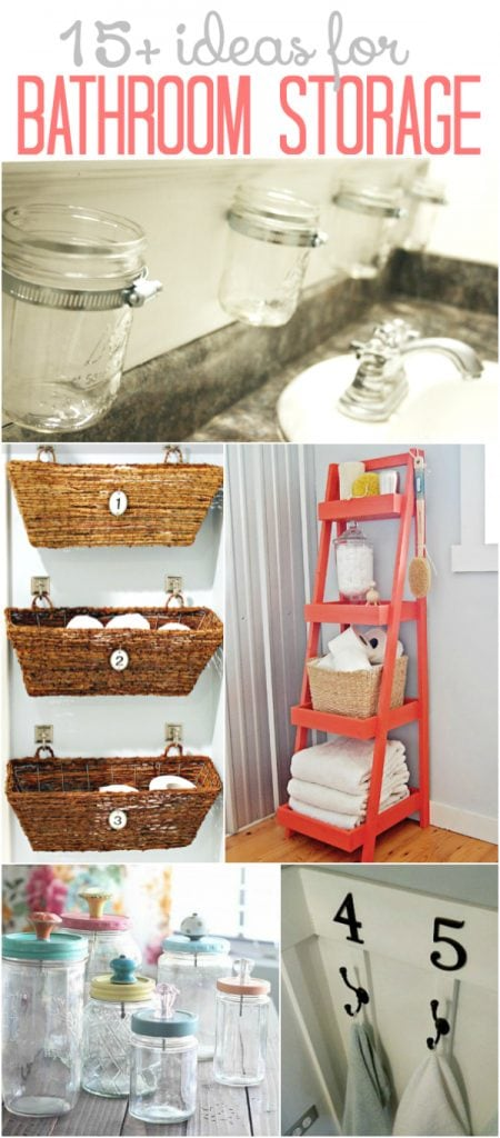 15+ clever bathroom storage ideas! Lots of space saving solutions!