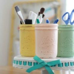 Distressed mason jars | Craft room organization