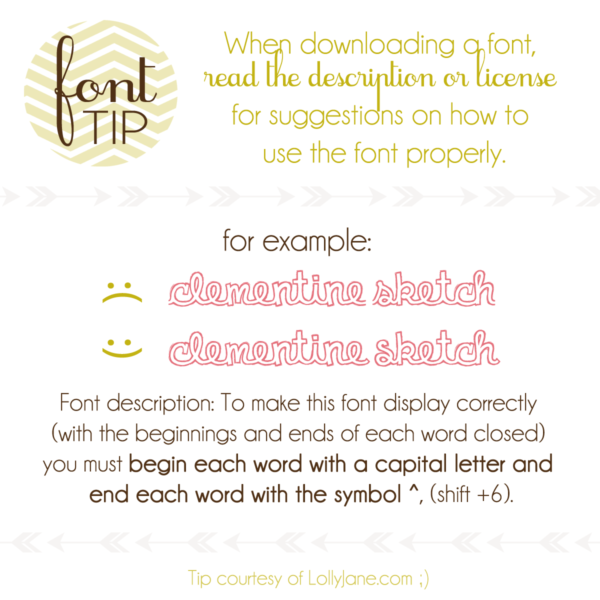 Font tips from those font addicts at LollyJane.com ;)