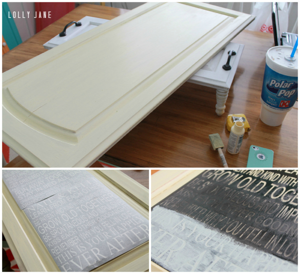 DIY subway art cupboard door
