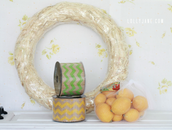 Supplies to make your own cute chevron citrus wreath- full tutorial at lollyjane.com