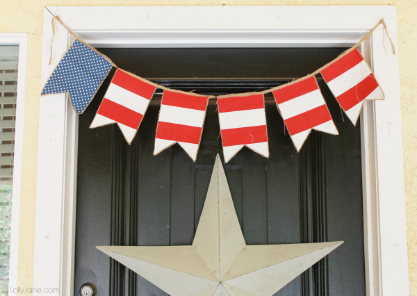 Stars & Stripes burlap and fabric banner #4thofJuly #bunting