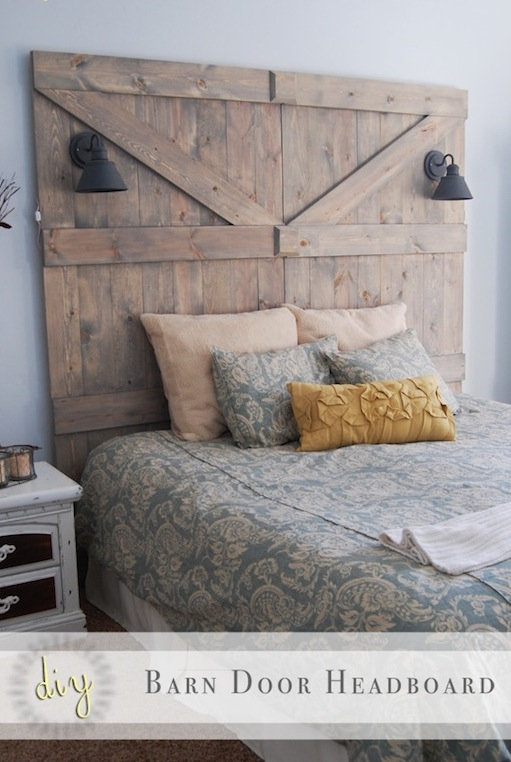 DIY Barn Door Headboard via Little Yellow Barn